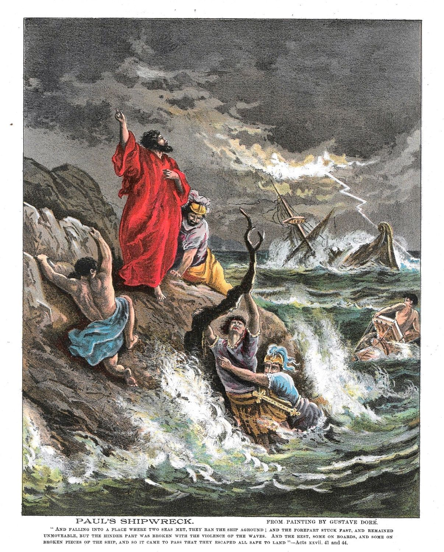 986d383ca818 Dore  Biblical print Paul Shipwreck Ocean waves lighting Jesus Christ  Aposte St Paul Sailing Bible Acts AD Religious art antique prints