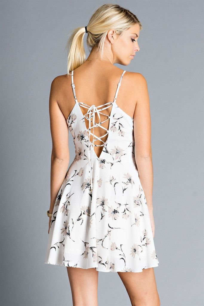 d133314fade8 Summer nights lace-up floral dress in 2018
