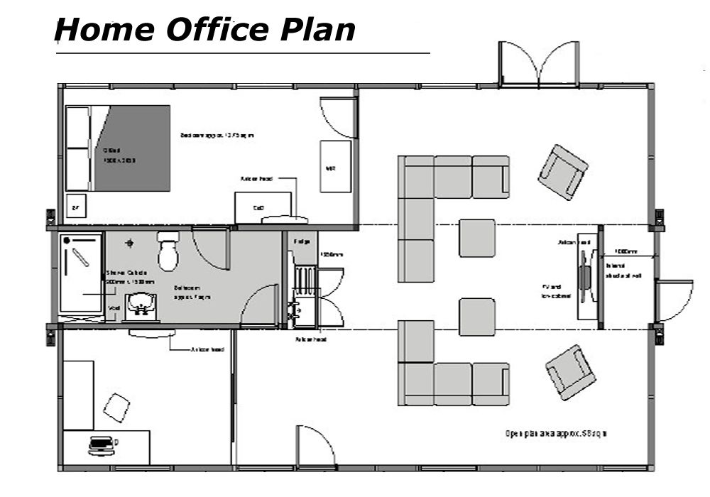 Home office floor plans home office floor plans dream for Long narrow office layout