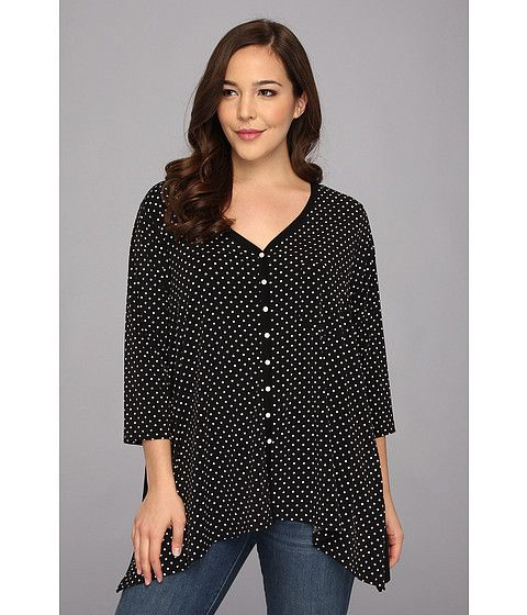 Karen Kane Plus Plus Size Dotted Handkerchief Top