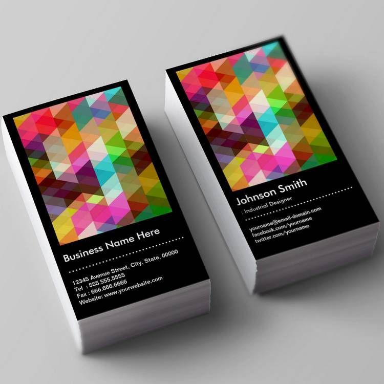Industrial Designer - Colorful Mosaic Pattern Business Card ...