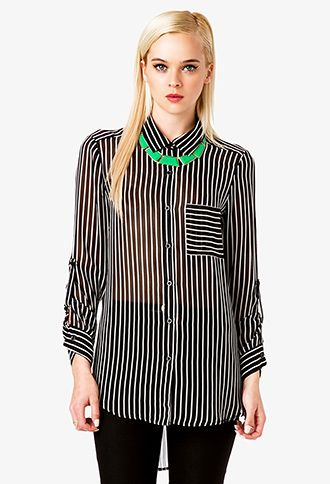 Striped Longline Chiffon Shirt   FOREVER21 - 2042099364