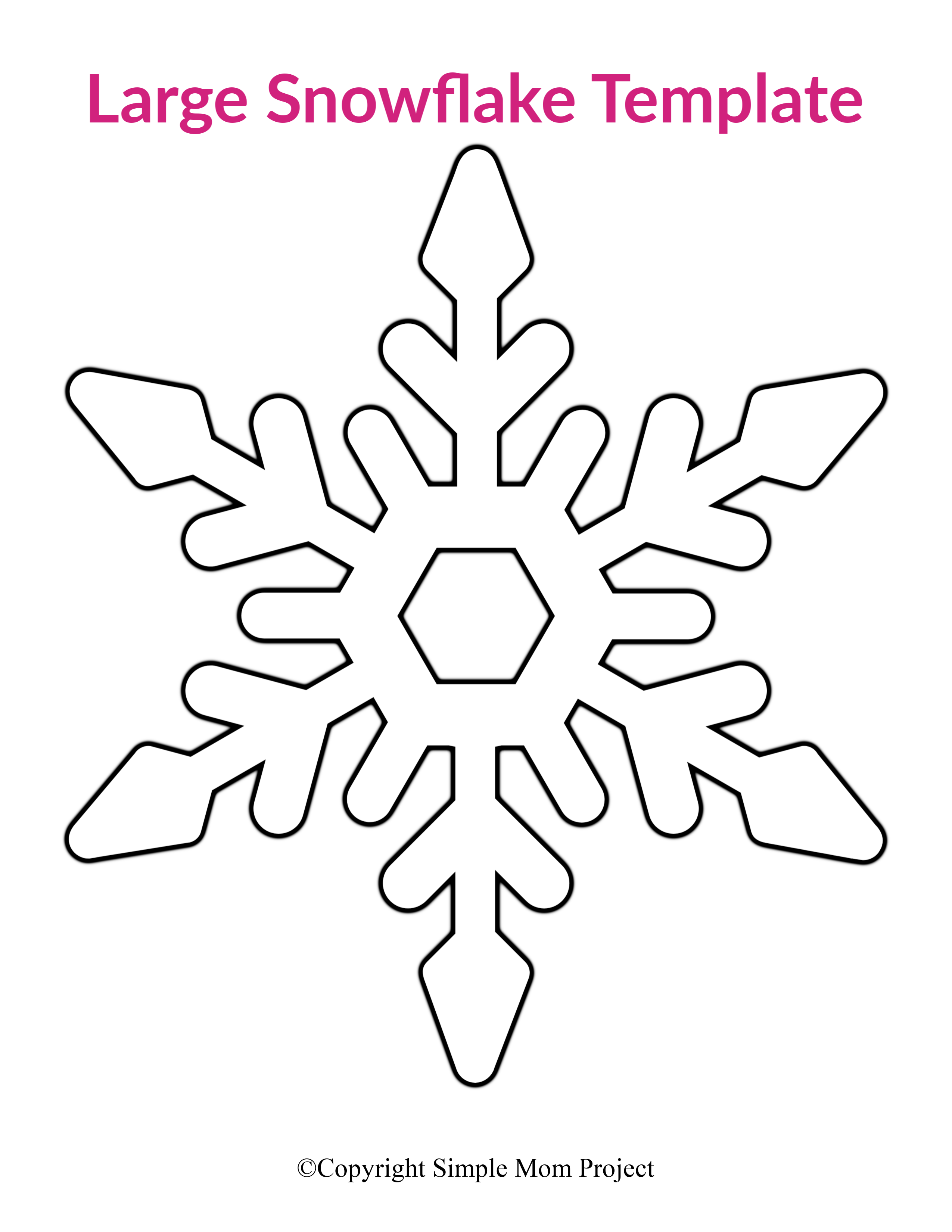 4 inch Snowflake Template-Printable Snowflake-Winter Crafts-Christmas Decor-Holiday Party-Classroom Decor-Kids Crafts-DIY Snowflake Cutout