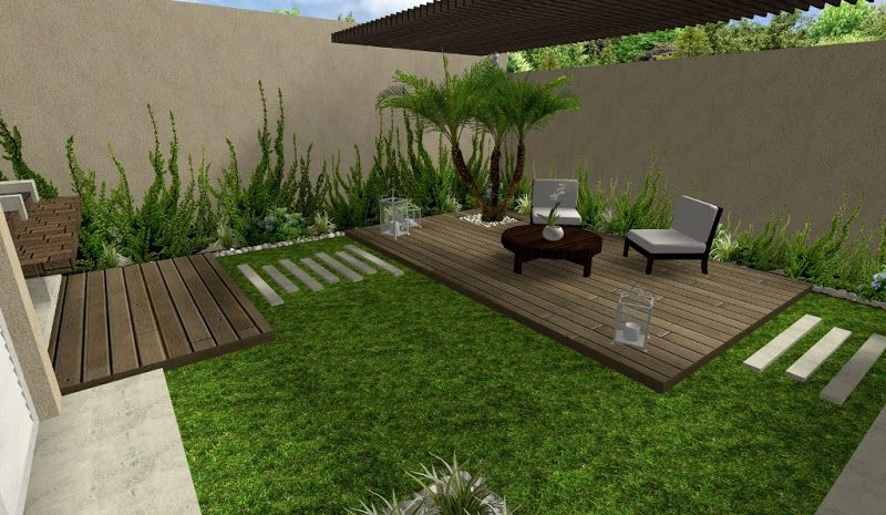 Dise o de jardin hermoso con deck y pergola y plantas - Decoracion de jardines con plantas ...