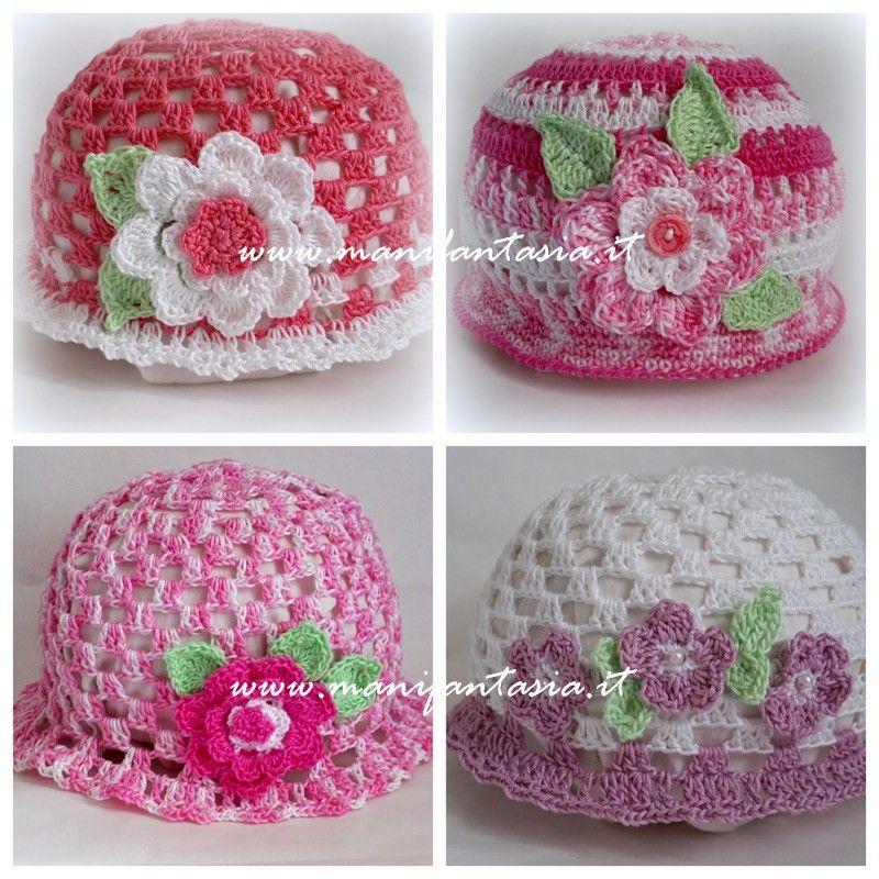 Cappellini Uncinetto Bimba Schema E Spegazioni Hats Crochet Hats