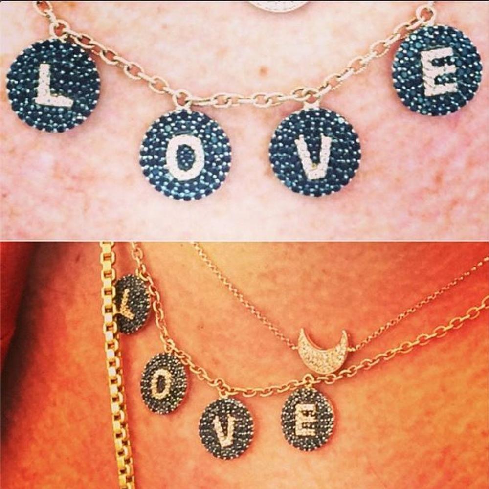 Bettina Javaheri-Dangling L O V E Necklace  3375 black white diamonds e93ed0210018