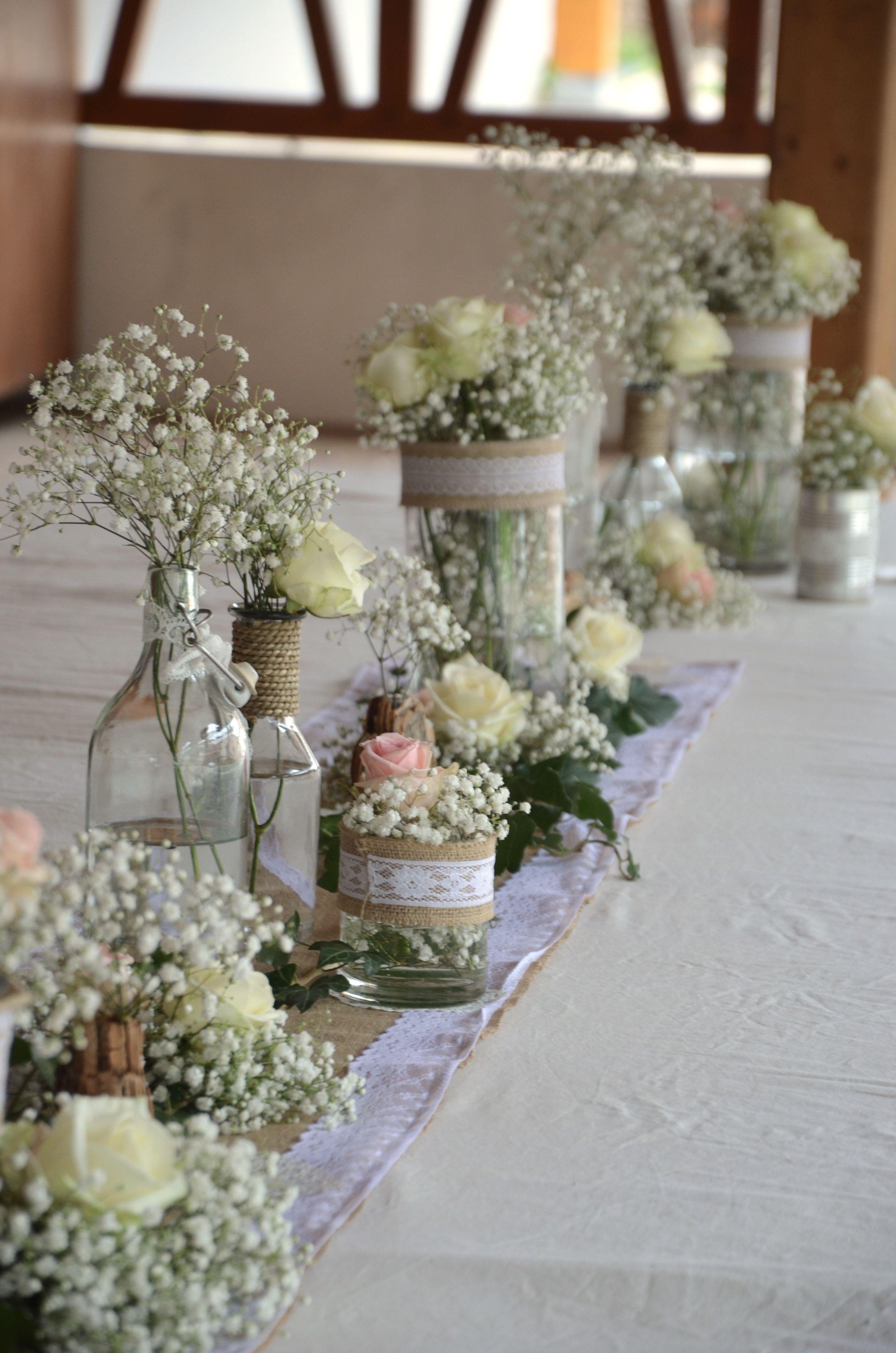Decoration De Table Centre De Table Vases Gypsophile
