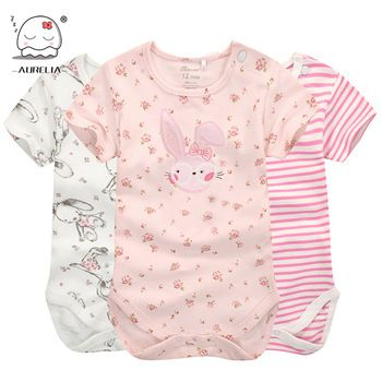 825295402e59 Moms Care Cartoon Cotton Baby Rompers Summer Short Sleeve Baby Wear ...