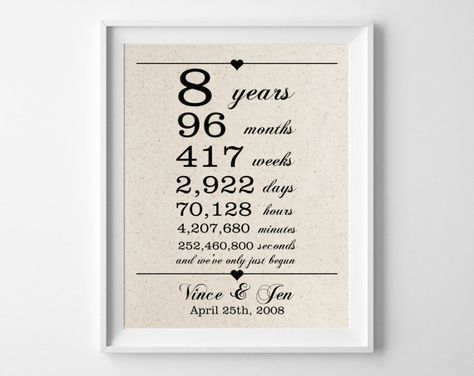 8 Years Together Cotton Gift Print 8th Anniversary Gifts 8