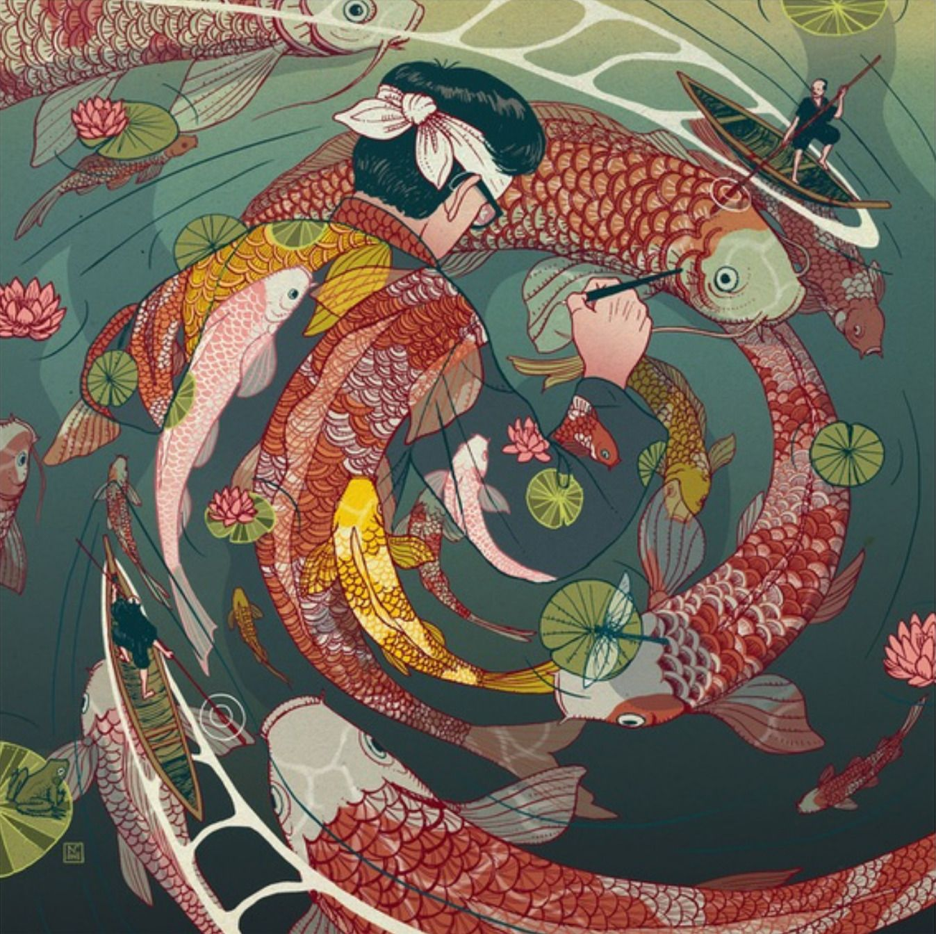 Japanese Koi Fish Art Ukiyo E Tale The Creative Circle By Nicolas Castell Buy The Art Print By Clicking Throug Japanese Art Composition Art Illustration Art