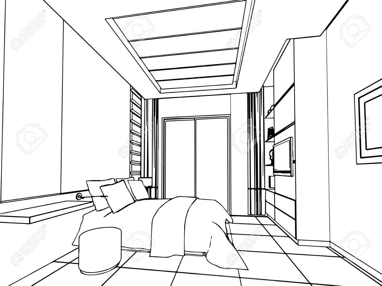 Skizze, Zeichnung Perspektive Eines Inter Raum Umreißen Lizenzfreie Fotos, Bilder Und Stock Fotografie. Image 45140427.