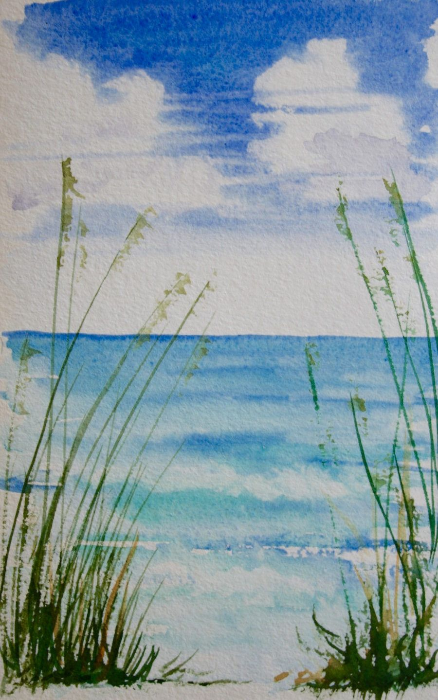 Sea Grass Original Watercolor Painting By Janemayjones On Etsy