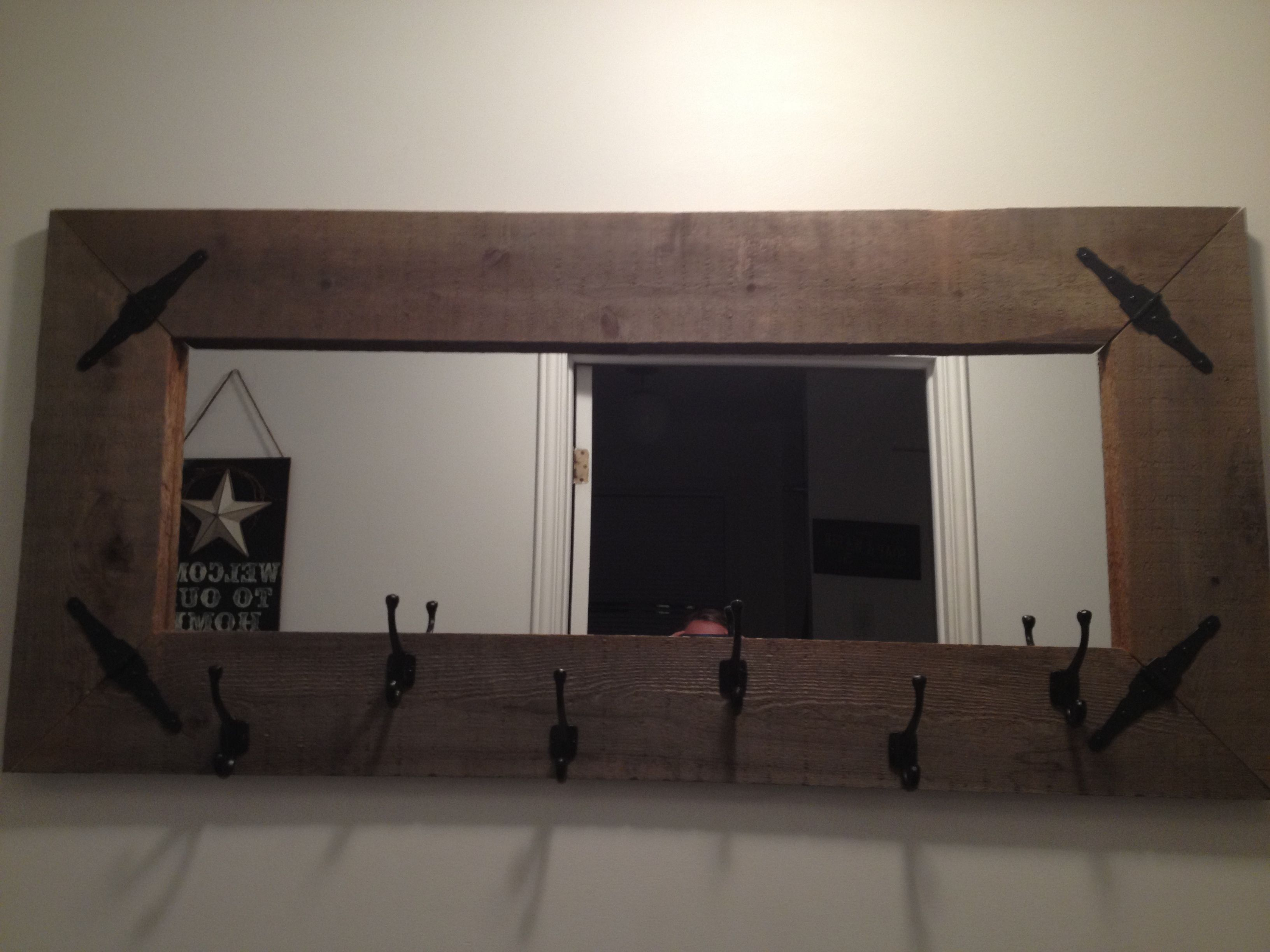 Barn board wall mirror with coat rack, made ourselves(Ryan ...