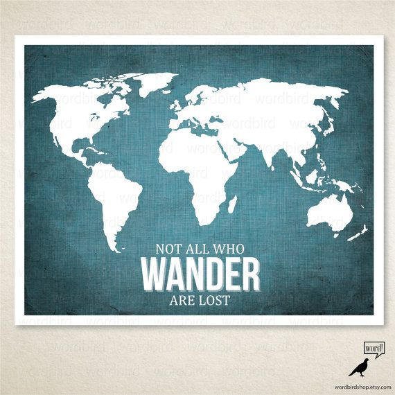 Motivational wall decor World map poster Lord of the Rings movie