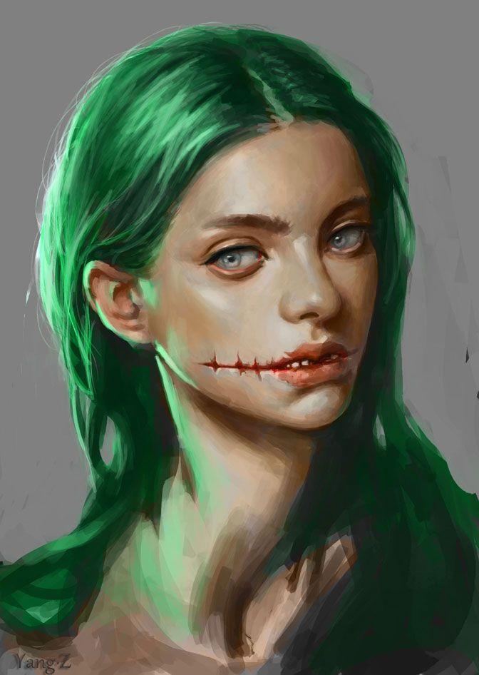 Female Characters With Green Hair : female, characters, green, Green, Yangzheyy, Girl,, Black, Eyes,, Anime