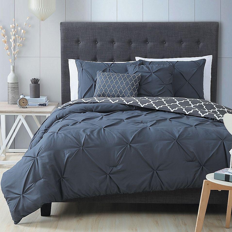 Madrid 5Piece Queen Comforter Set in Charcoal Bedroom