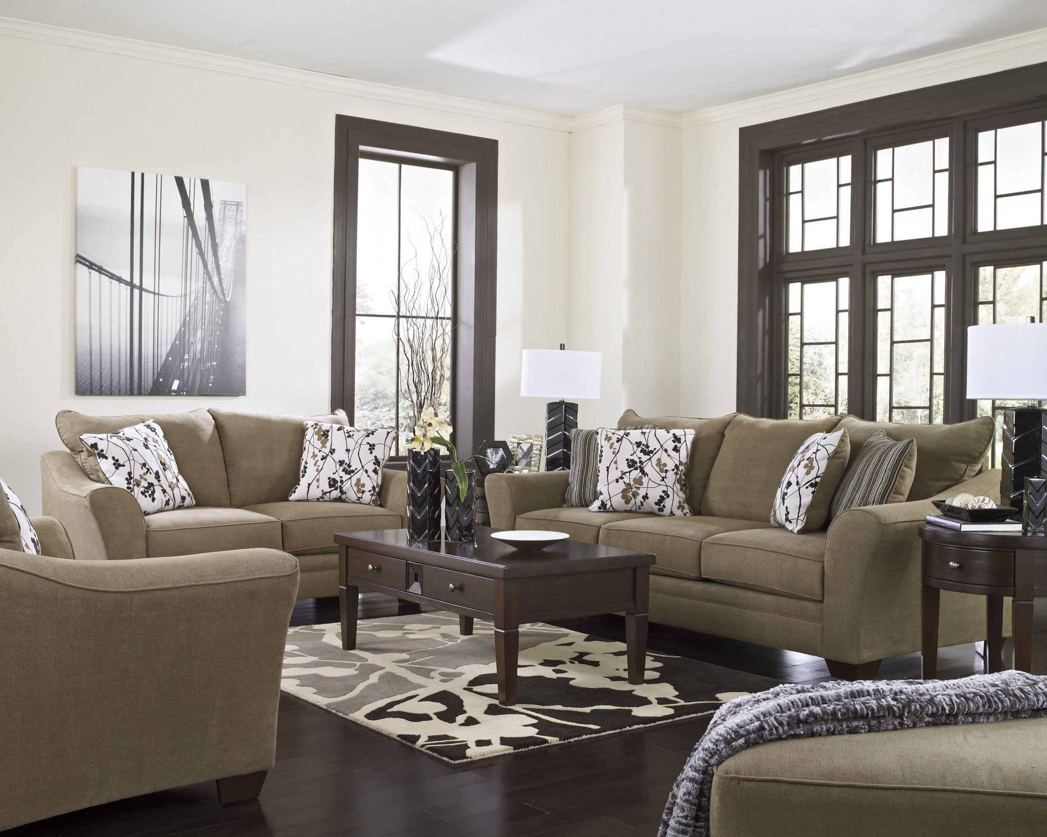 Nayeli - Sofa Loveseat Chair and a Half Ottoman Set 4pcs ...