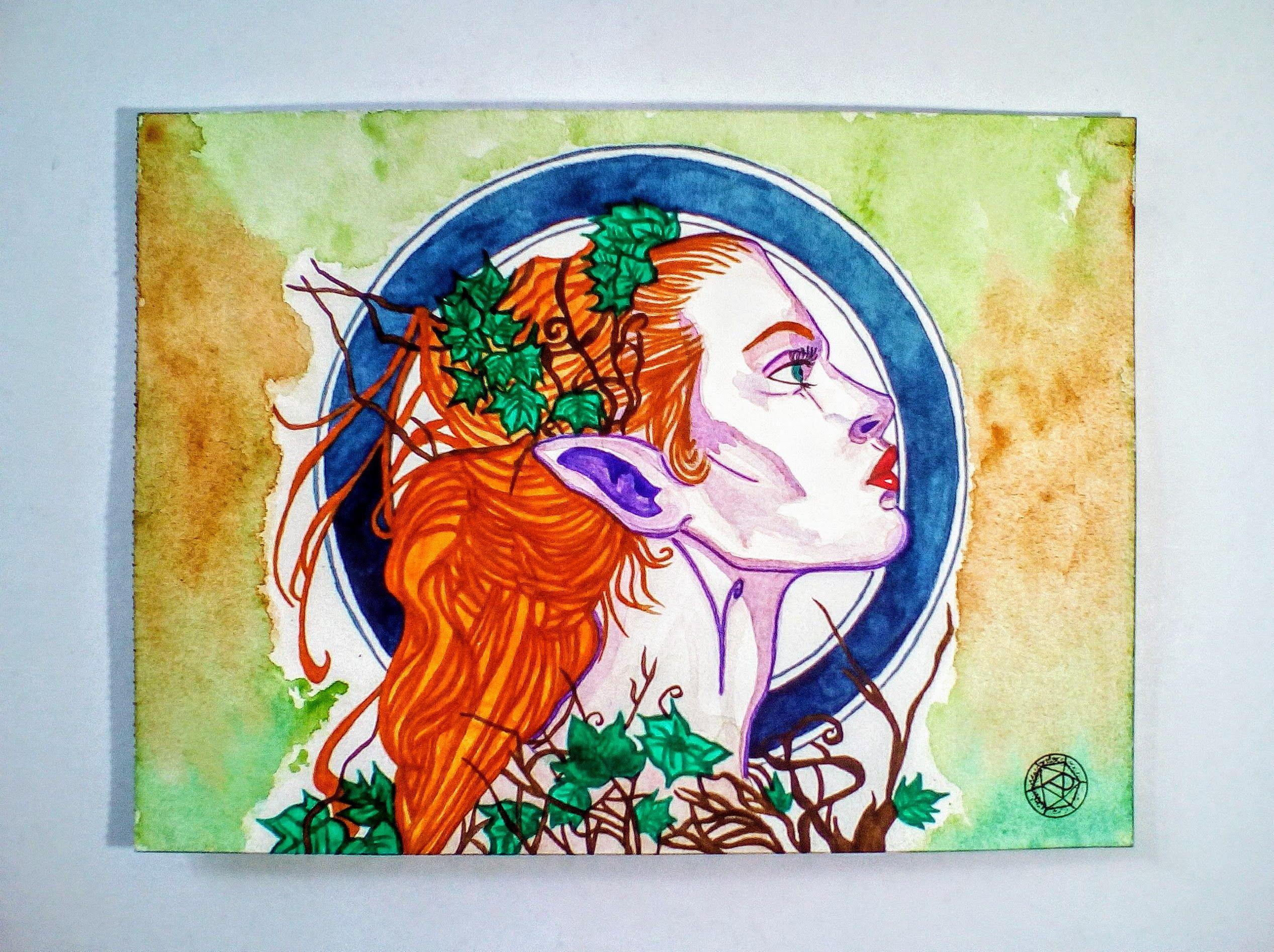 Aquarelle Elfe Sauvage Peinture Originale Oeuvre Originale