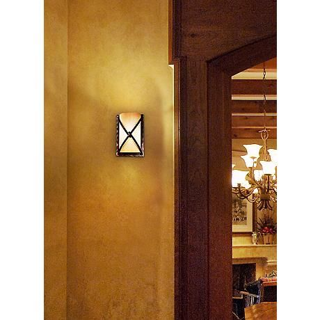 Minka knotted iron 9 14 high pocket wall sconce style 62147 a pocket wall sconce design from minka thats ideal for lighting smaller bathrooms hallways and more uses one maximum 60 watt candelabra base bulb not aloadofball Choice Image