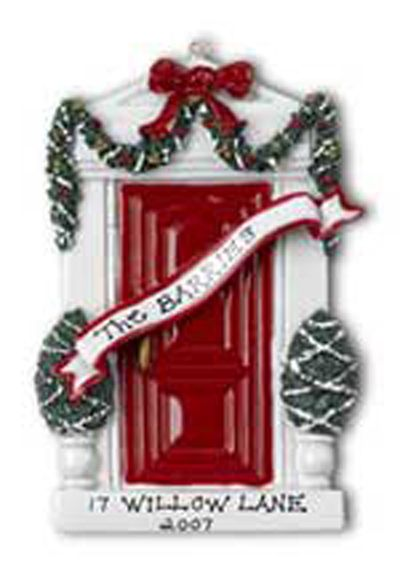 Red Door Family Christmas Ornament - we'll personalize it!