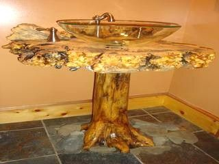 Sinks Hand Crafted From Cedar Stumps, Burl Tops And Clear Vessel Sinks .