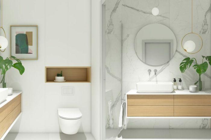 Ein Runder Spiegel, Unterregale Mit Waschbecken, Badideen, Ein  Minimalistisches Badezimmer