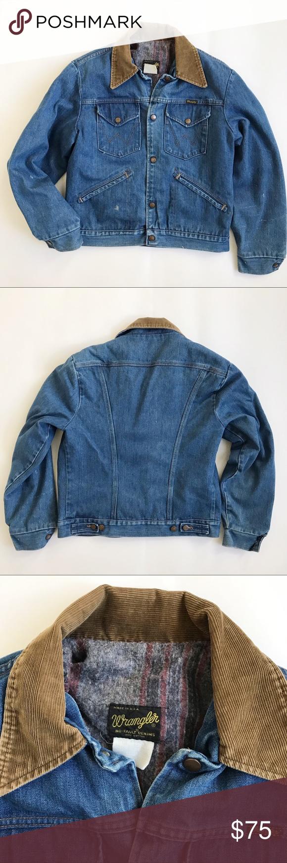 Wrangler Vintage Corduroy Collar Jean Jacket S M Clothes Design Jean Jacket Fashion