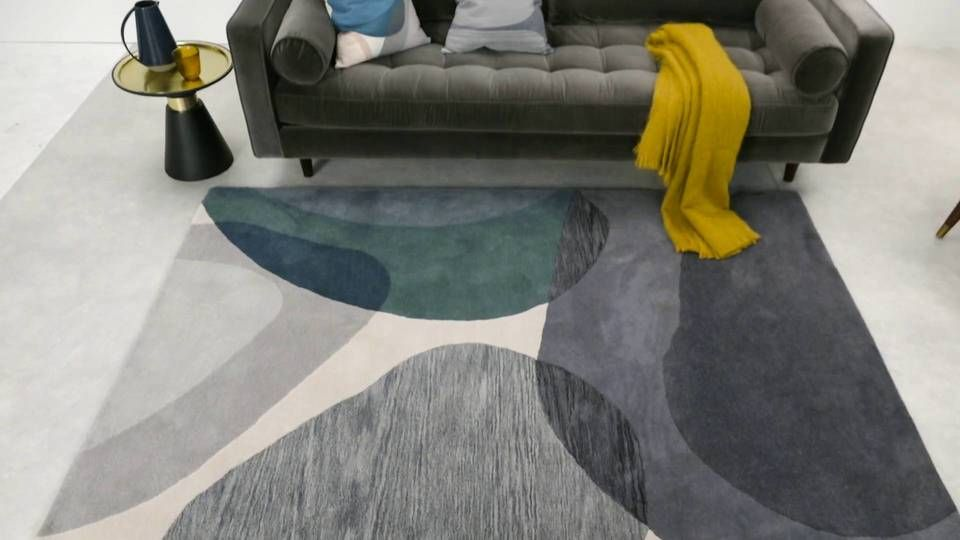 Holt Wool Rug, Large 160 x 230cm, Grey and Teal | Rugs ...