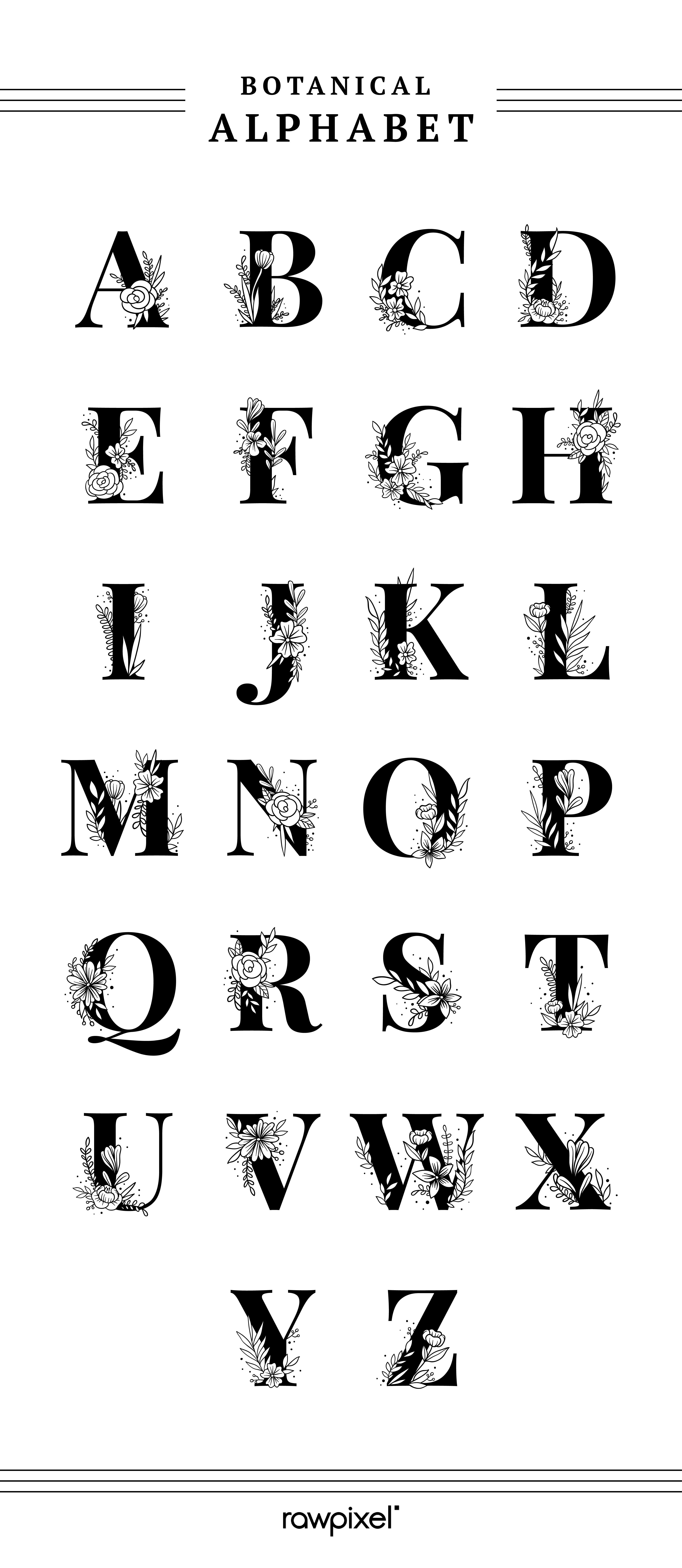 Get free and premium royaltyfree botanical alphabet
