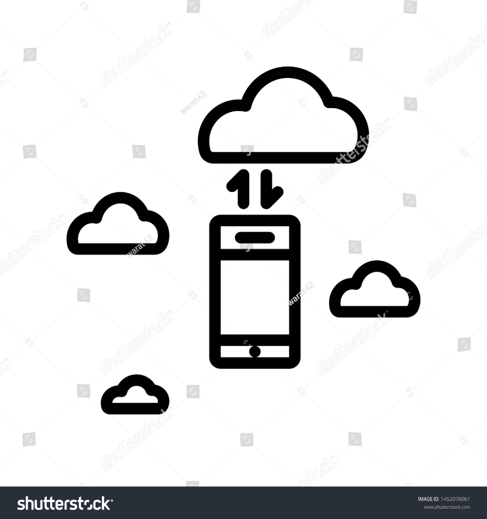 Cloud With Cellphone And Arrows Isolated On White Background Thin Line Icon Vector Illustration For Symbol Web Or App Stoc Clouds White Stock Image Line Icon