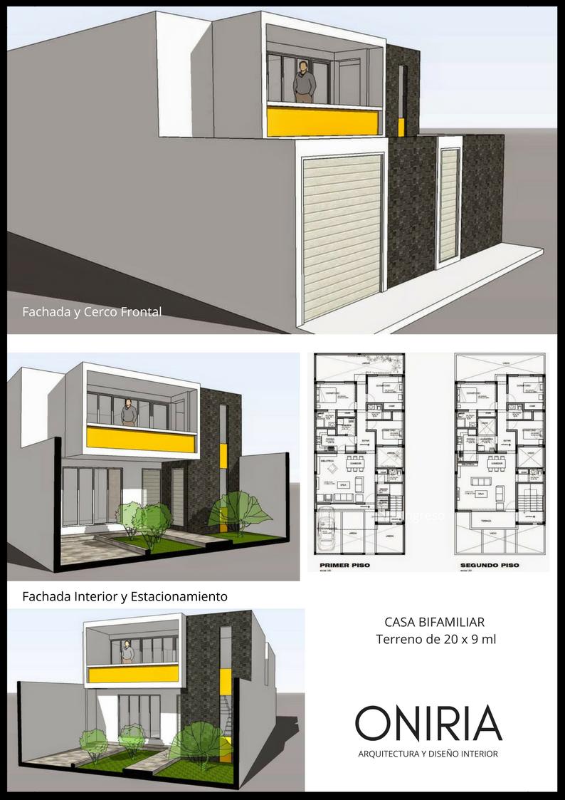 Segunda opci n de dise o para una vivienda bifamiliar en for Casas modernas 8x20