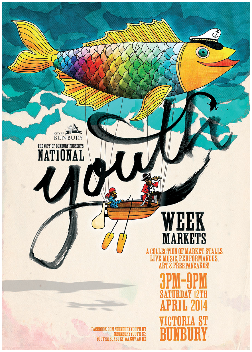 Poster design for youth - Youth Week Markets Poster A3 Email Version Png