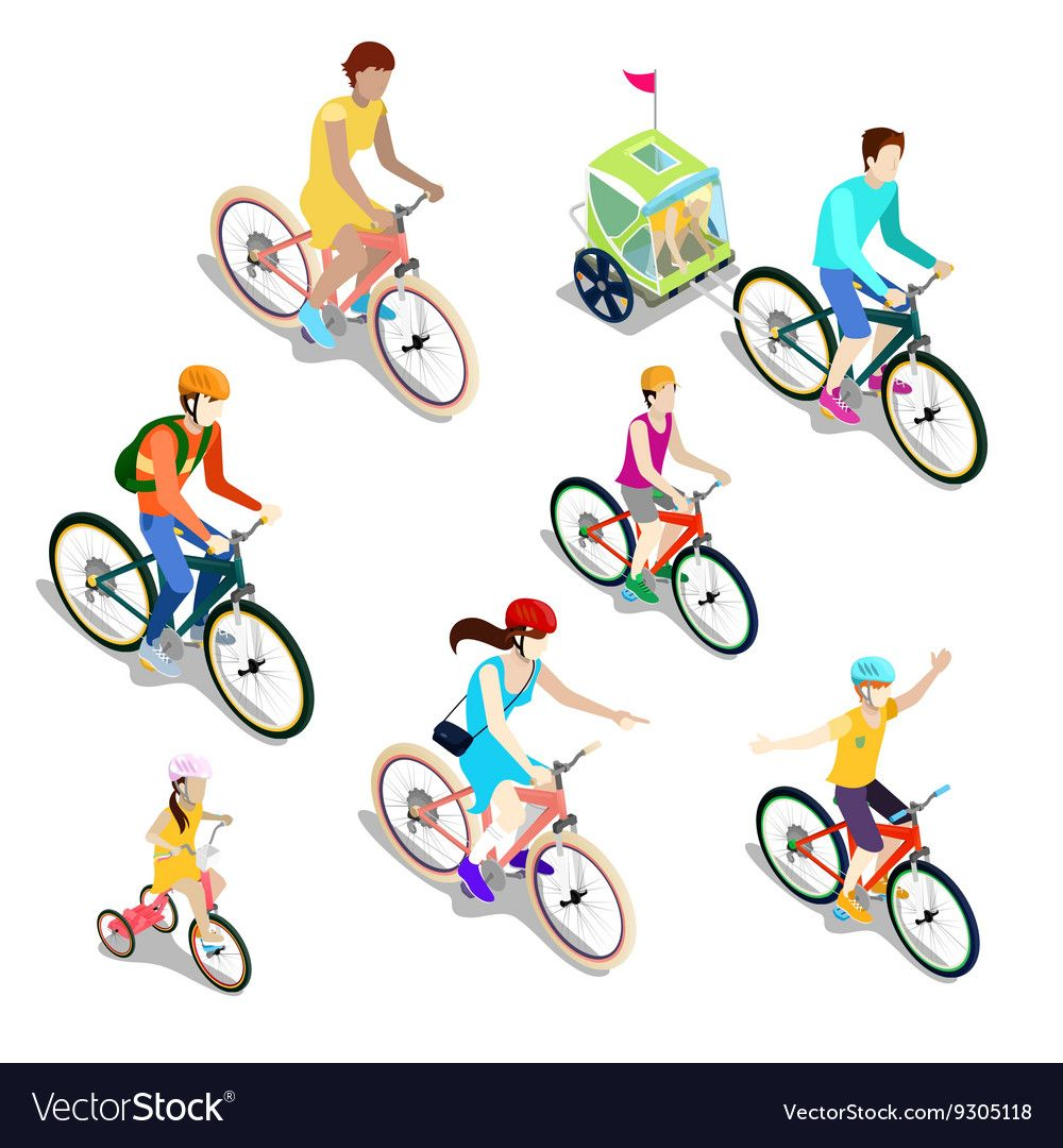 Isometric People On Bicycles Family Cyclists Vector Image Affiliate Bicycles People Isometric Family Ad Vector Free Vector Illustration Vector