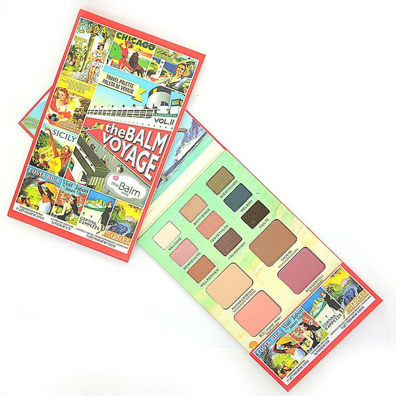 The Balm Makeup Face Palette Multi-function Cosmetics Kit Includes Eye Shadow+Blusher+Lipstick Balm Voyage Vol.2 Set