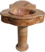 Red Peach Travertine Pedestal Sink