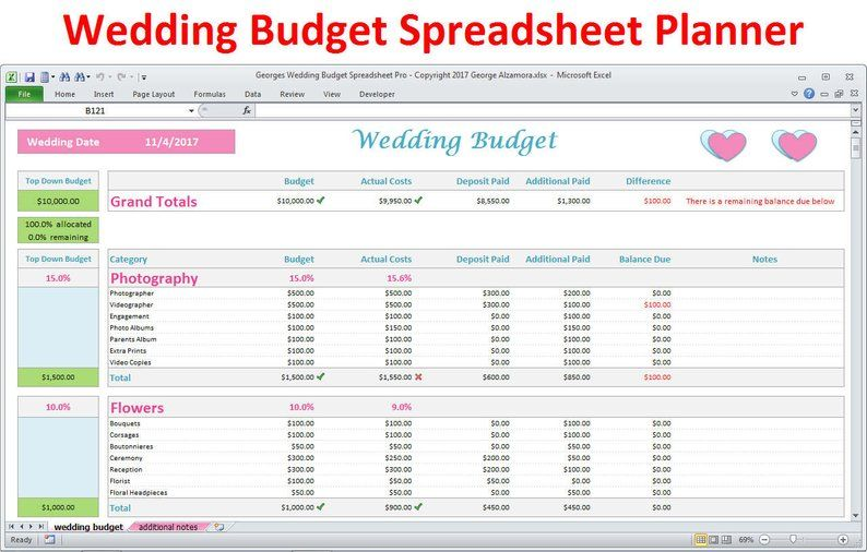 Wedding Planner Budget Template Excel Spreadsheet Wedding Etsy