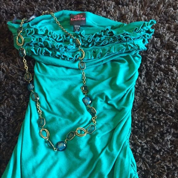 2b Bebe top Strapless Ruffled top comes in emerald green color little darker than appears in the pictures selling as a bundle with this matching necklace 2b bebe Tops Blouses