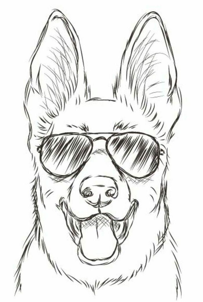 Hund mit Sonnenbrille, einfache Zeichnung Tutorials, schwarz und weiß, Bleistiftskizze, weiß ... - H #pencildrawingtutorials
