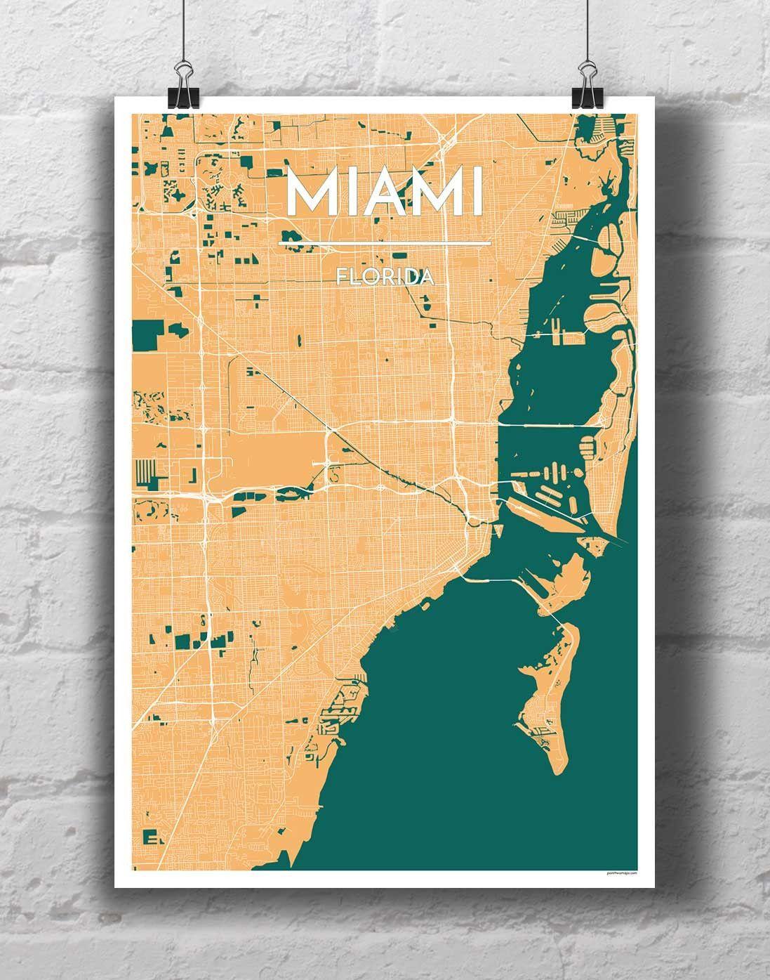 miami map art print   map art print, map art, city map art