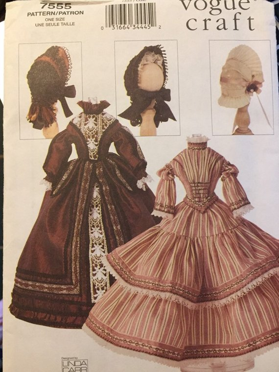 Vogue 7555 Vogue Craft 1840's-1850's Dresses and Hats Fashions for
