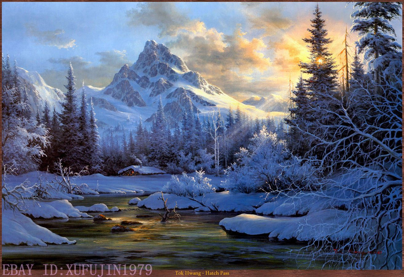 Snow Capped Mountains In The Sun Prints Oil Painting On Canvas 24 X36 Ebay Mountain Landscape Painting Landscape Paintings Oil Painting Landscape