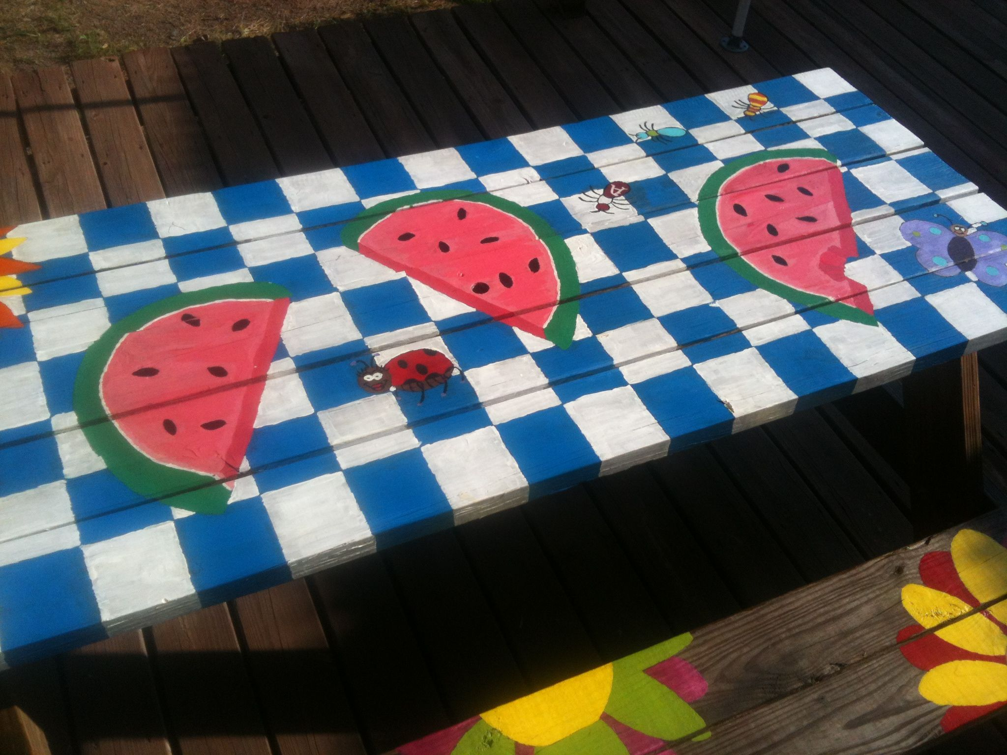 Cute Picnic Table We Painted Kids