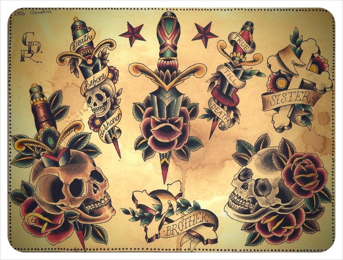 Vintage Old School Tattoo Flash Tattoos That I Love Tattoos