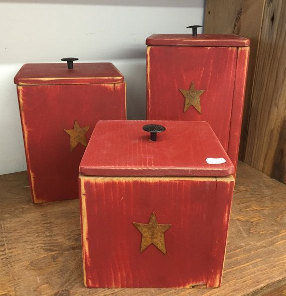 Wooden Canister Set Of Three W/ Stars Kitchen By MaineWorksOfHeart More