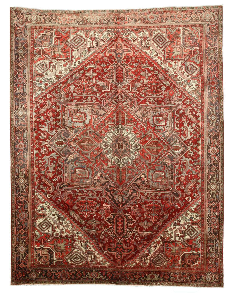 Hand Knotted Wool Red Traditional Oriental Heriz Rug 10 1 X 13