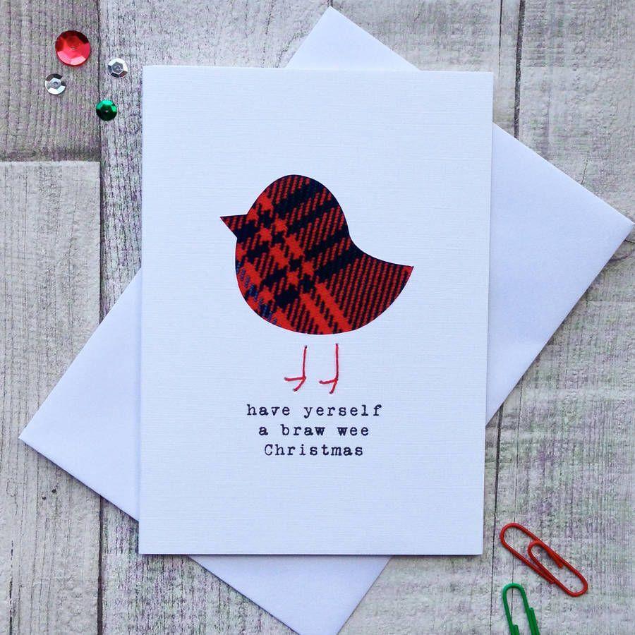 Cute tartan robin scottish christmas card tartan christmas button cute tartan robin scottish christmas card m4hsunfo