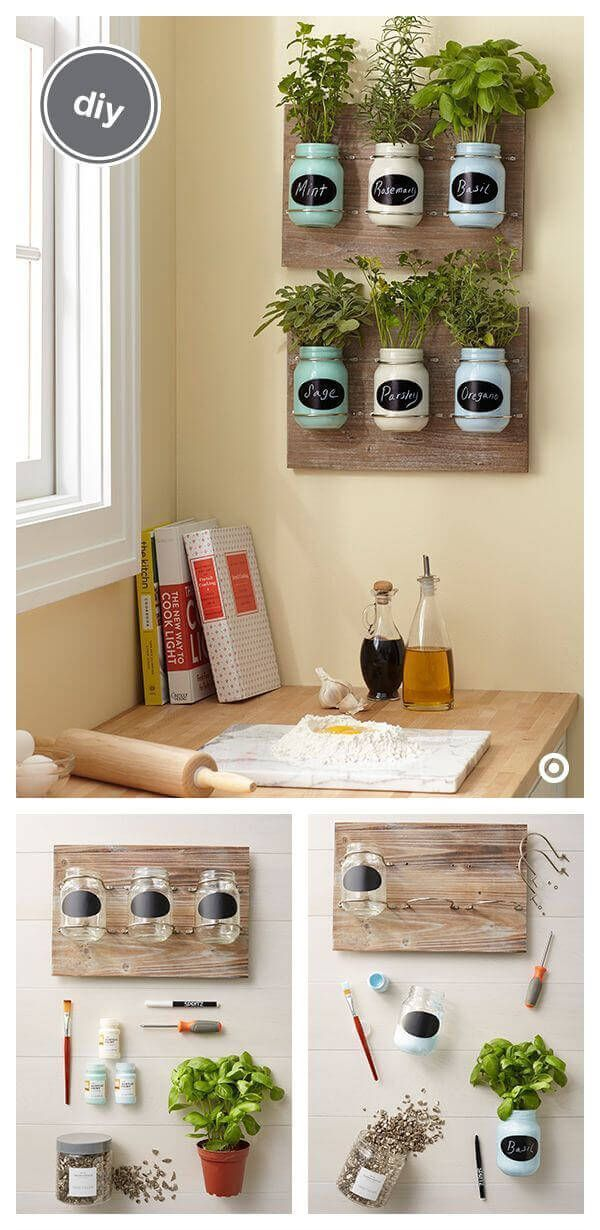 küchenkräuter deko selber basteln diy wanddeko tinker on indoor herb garden diy wall mason jars id=92343