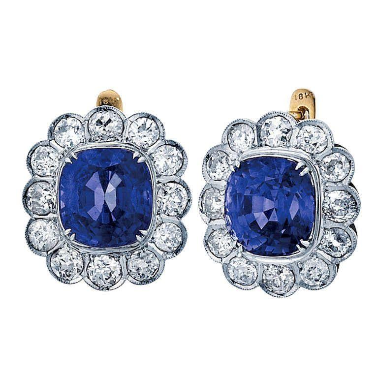Burmese No Heat Blue Sapphire And Diamond Drop Earrings Round Diamond Earrings Diamond Solitaire Earrings Sapphire And Diamond Earrings