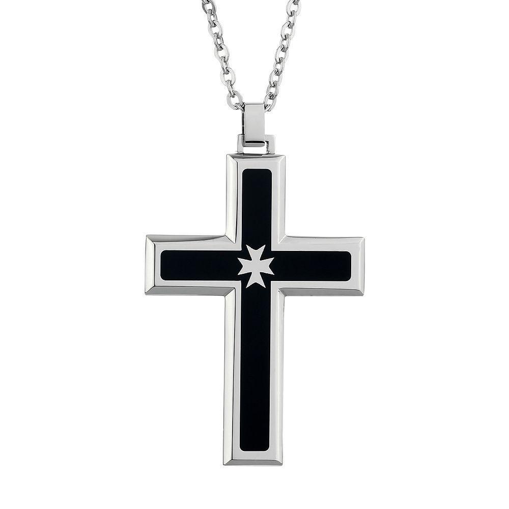 Kohlus lynx two tone stainless steel cross pendant necklace men