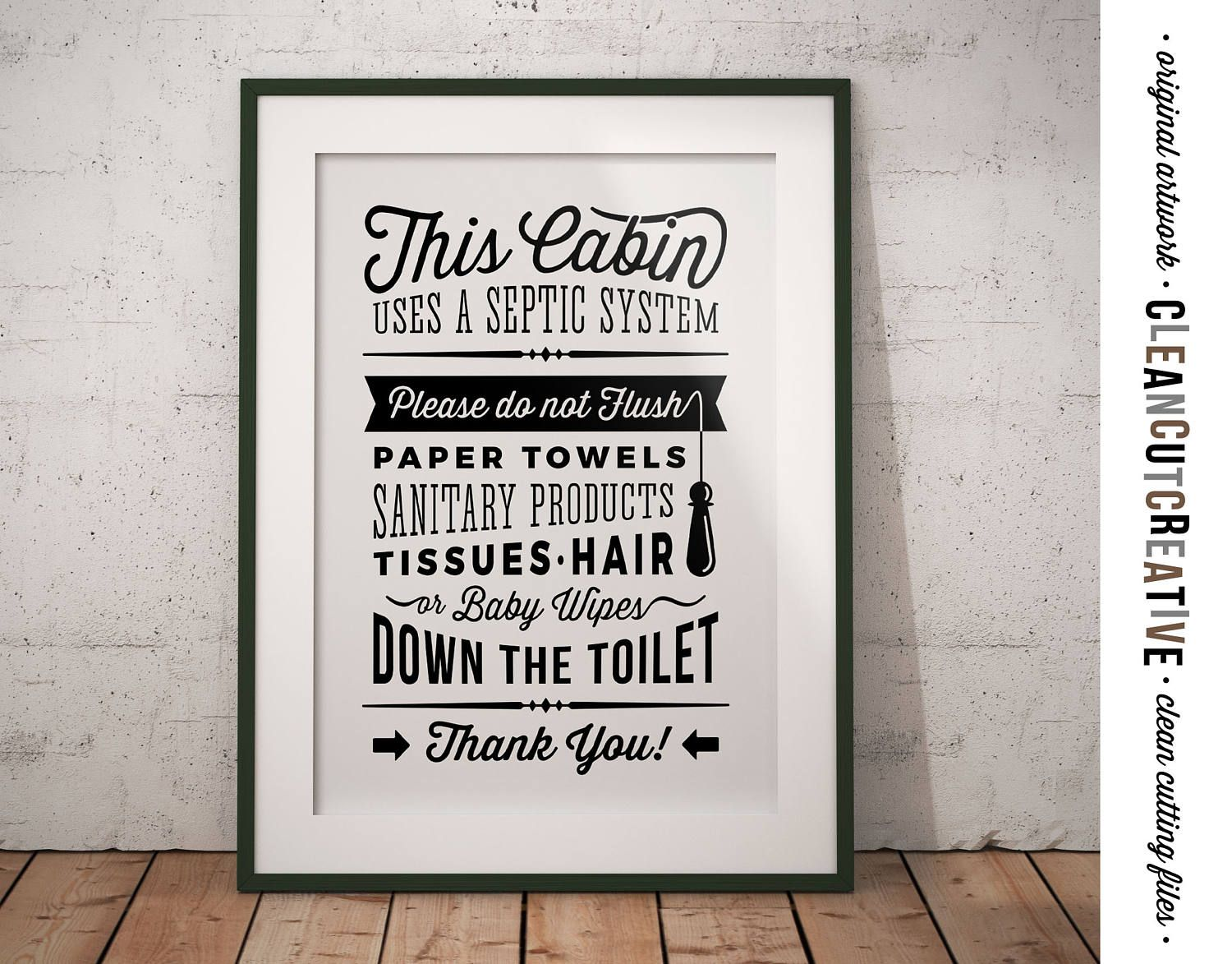 Funny Toilet Paper Cabin Bathroom Sign Septic System Please Do Not Flush